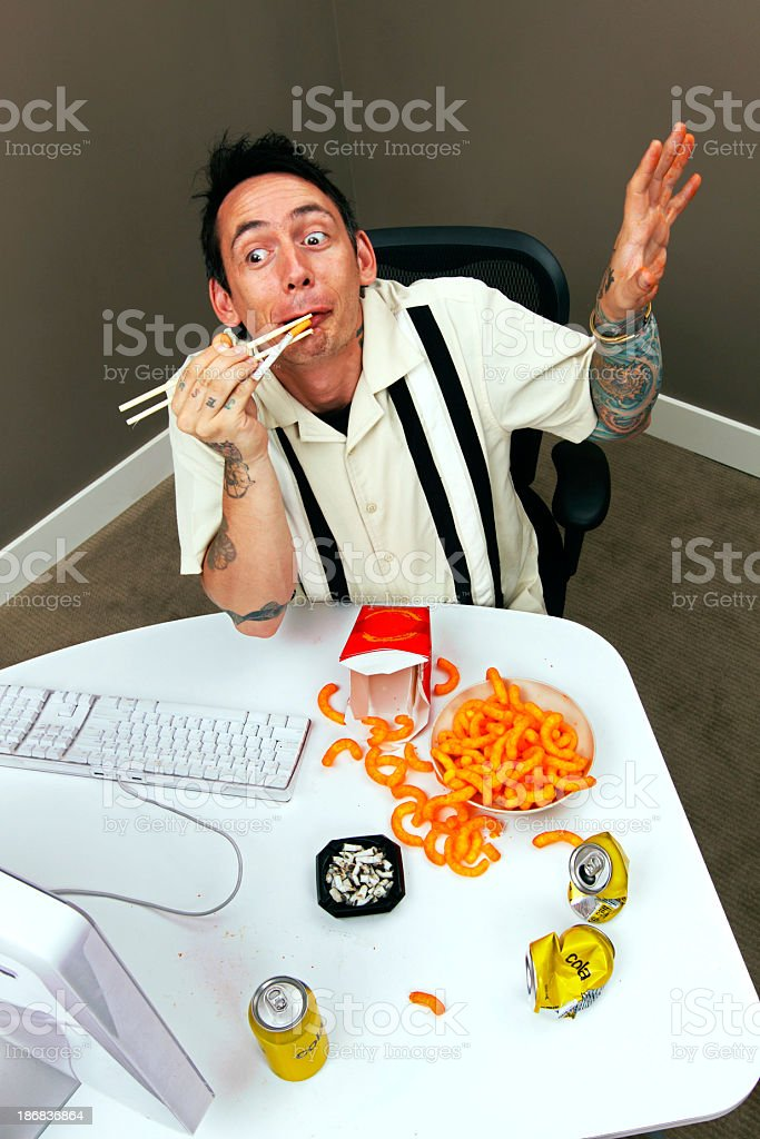 Crazy man in front of the computer stock photo
