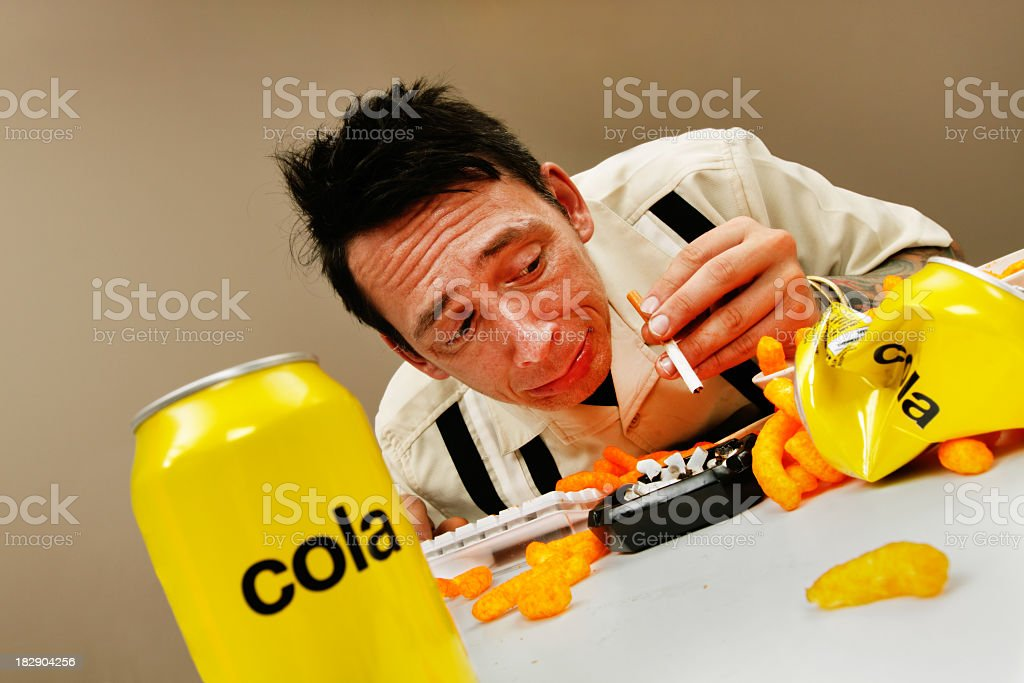 Crazy man in his office royalty-free stock photo