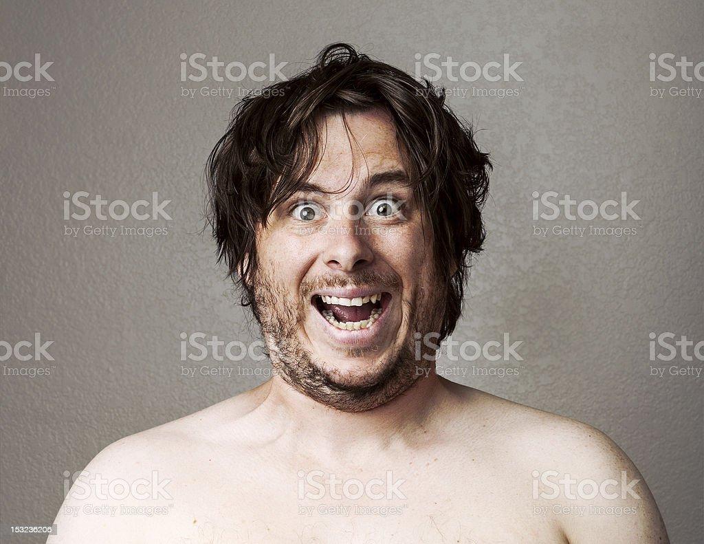 Crazy Man looking at the camera stock photo
