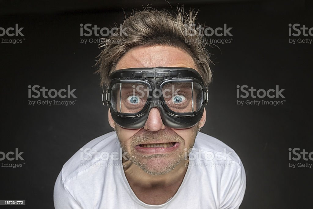 Crazy man with aviator glasses royalty-free stock photo