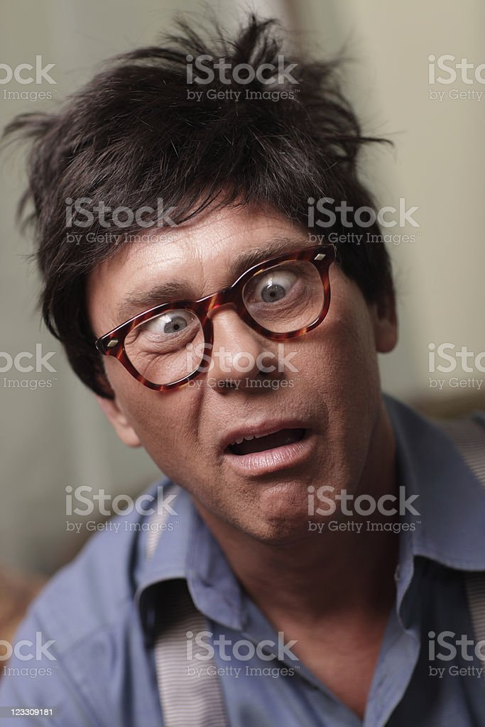 Crazy man with crossed eyes royalty-free stock photo
