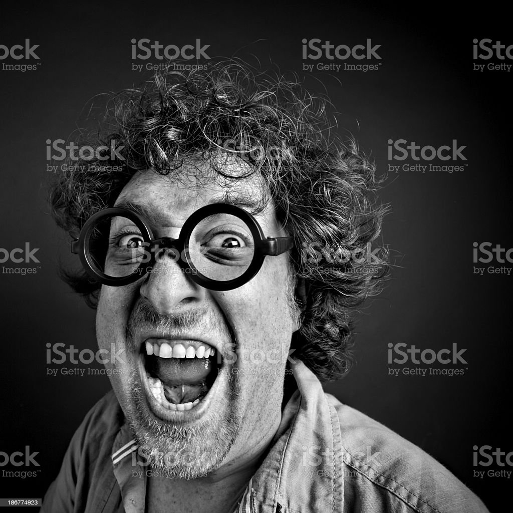 Crazy man with glasses royalty-free stock photo