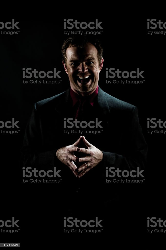 Crazy Man with laugh stock photo