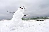 crazy, melting snowman on a winter beach