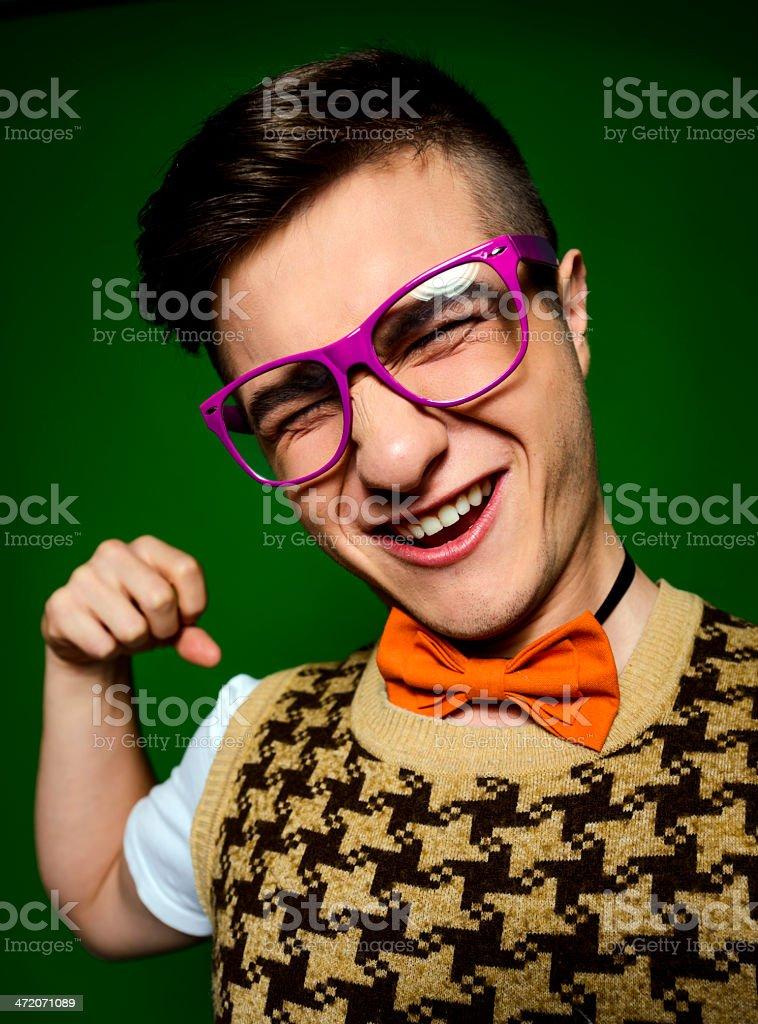 crazy nerd fighting royalty-free stock photo