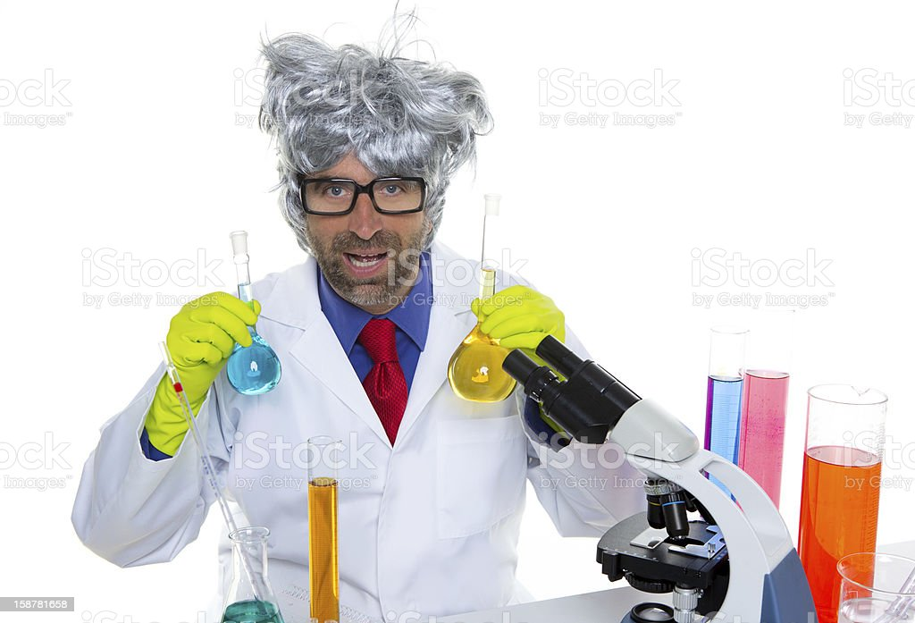 Crazy nerd scientist silly man on chemical laboratory royalty-free stock photo