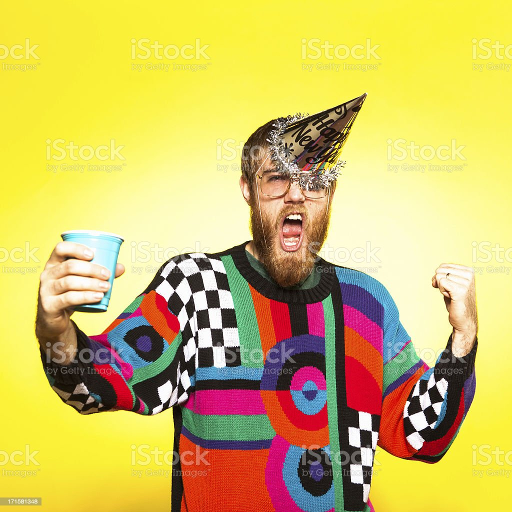 Crazy New Years Party Guy stock photo