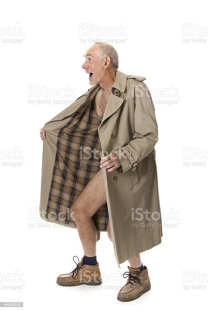 Crazy old man flashing stock photo