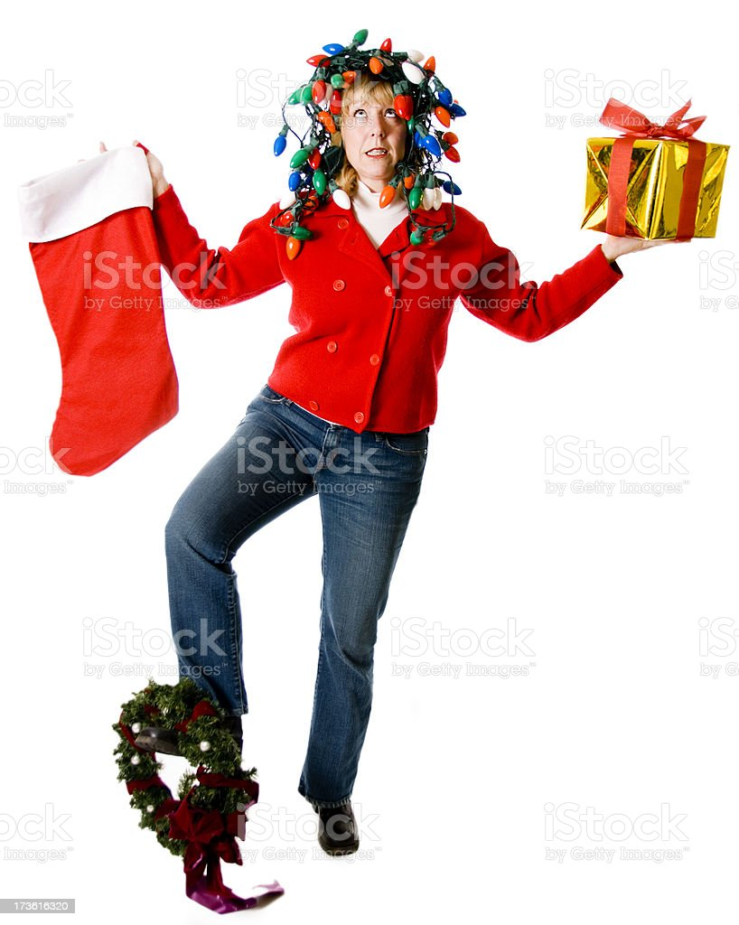 Crazy, Overwhelmed Christmas Woman Juggling stock photo