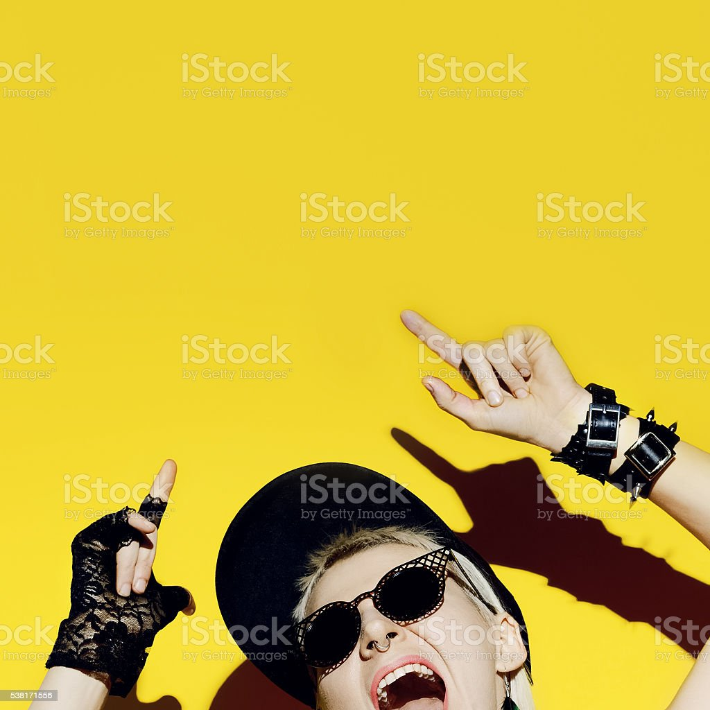 Crazy Party Lady. Style Swag glamorous time stock photo