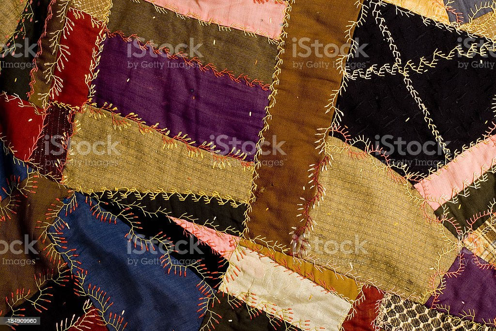 crazy patchwork quilt royalty-free stock photo