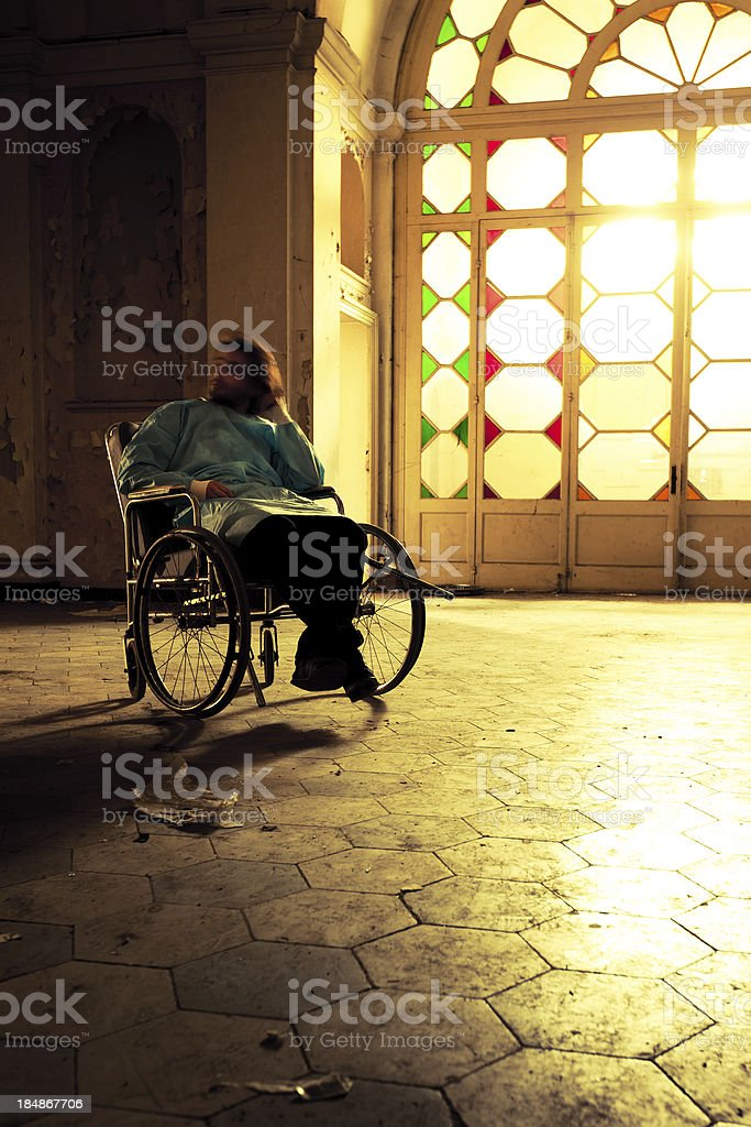 Crazy patient in Wheelchair royalty-free stock photo