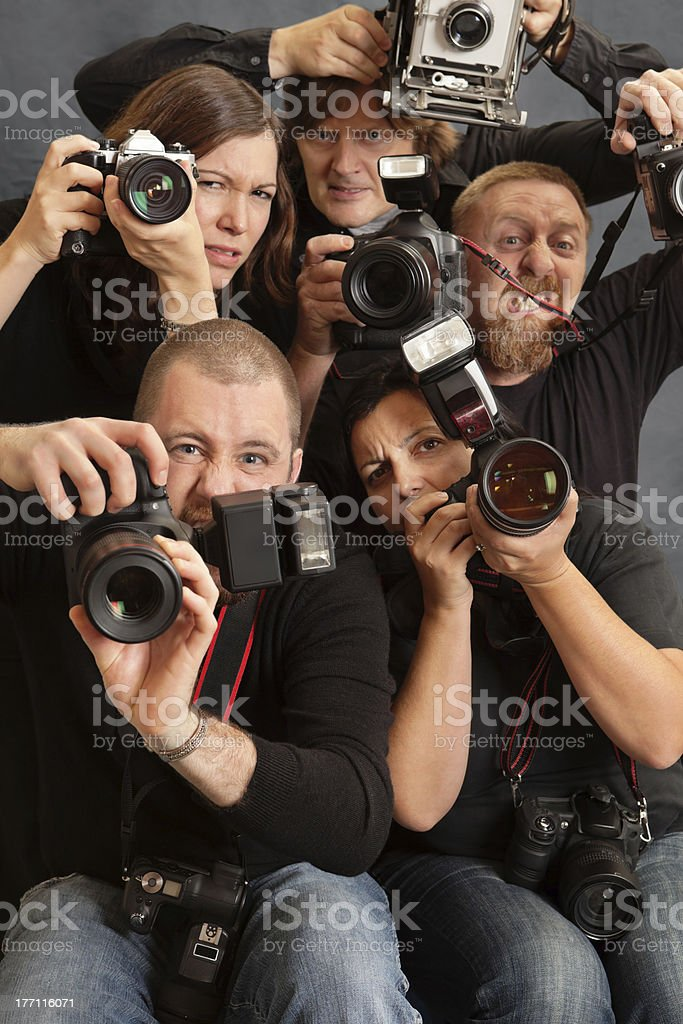 Crazy photographers stock photo