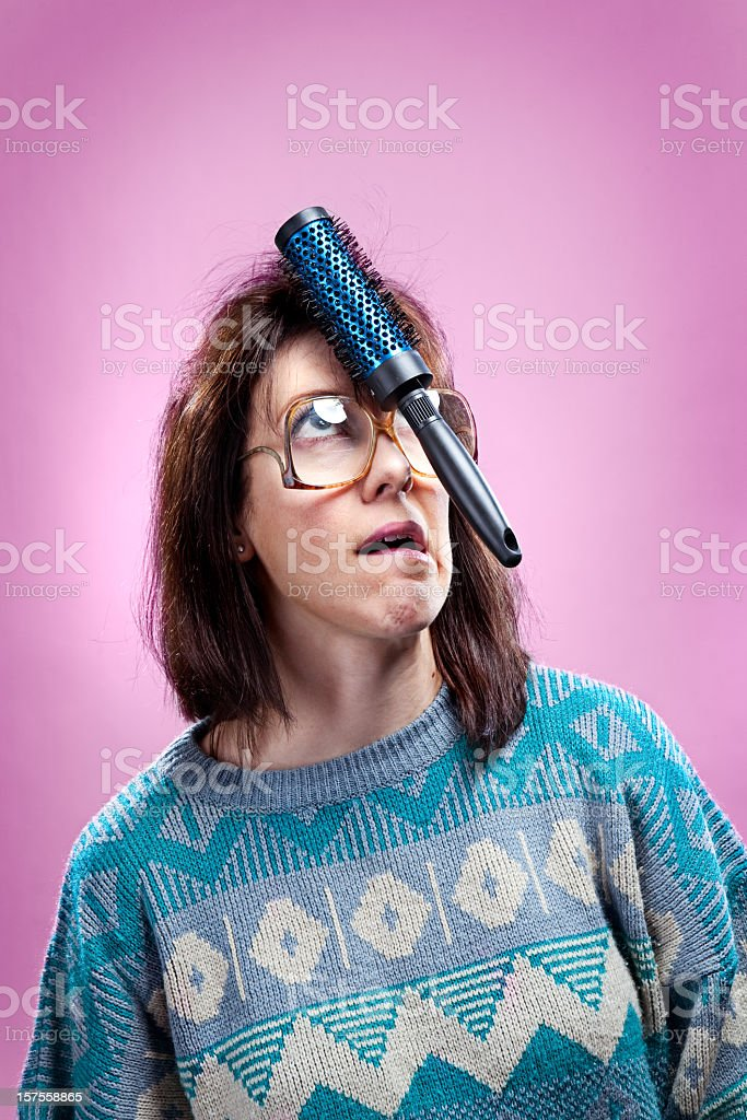 Crazy Pink 1980s Girl and Sweater stock photo