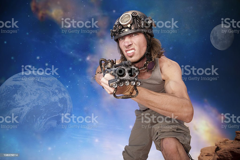 Crazy Post-Apocalyptic Guy with Gun royalty-free stock photo