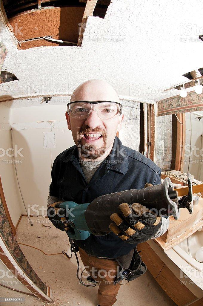 Crazy remodel guy stock photo