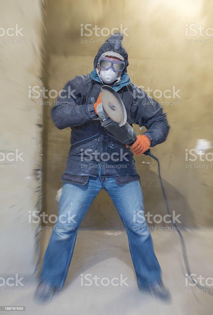 Crazy repairman royalty-free stock photo