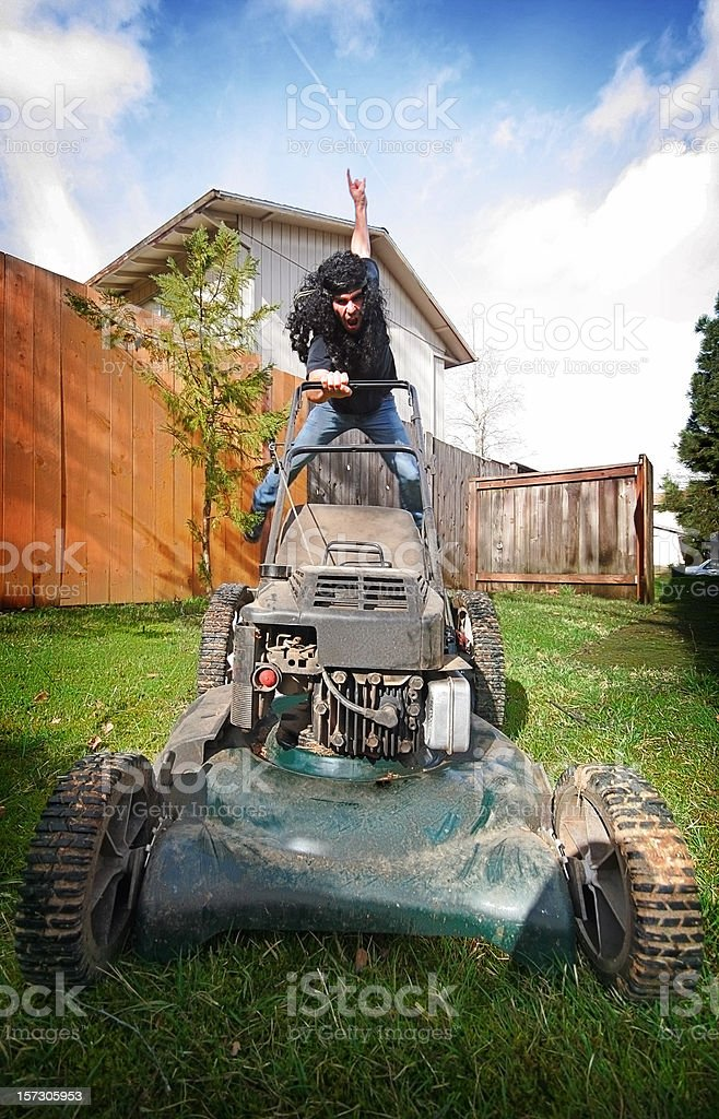 Crazy Rock and Roll Lawn Mower Man royalty-free stock photo