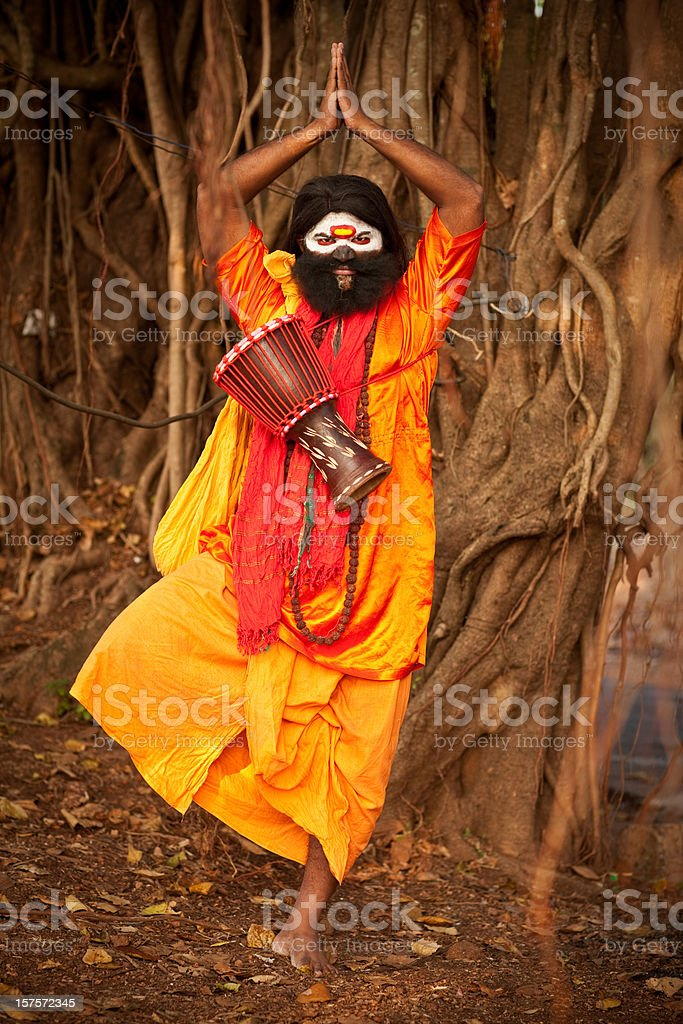 Crazy Sadhu in India stock photo