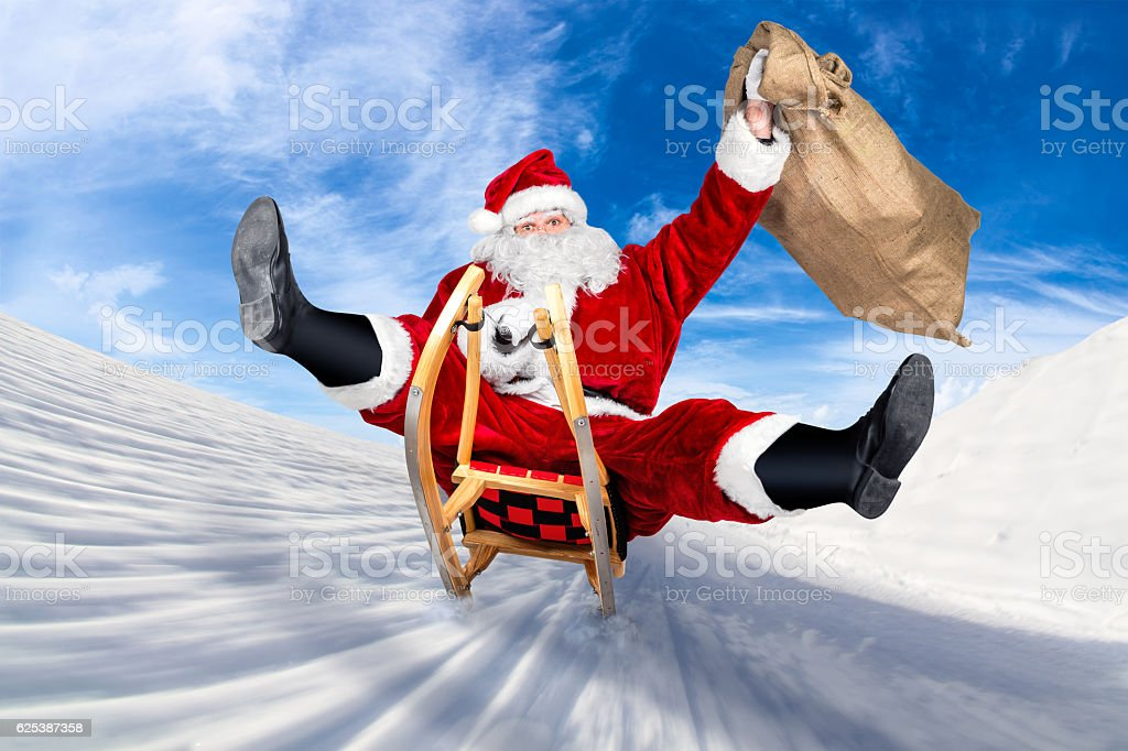 crazy santa claus sleigh funny crazy christmas gift  delivery stock photo