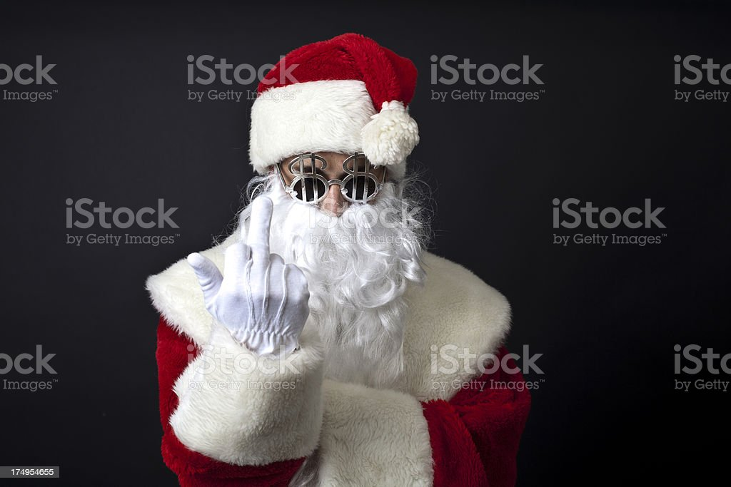Crazy santa claus with dollar glasses royalty-free stock photo