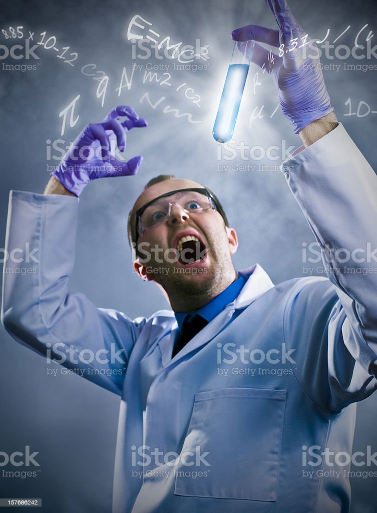 A royalty free stock photo of a mad crazy scientist making a...