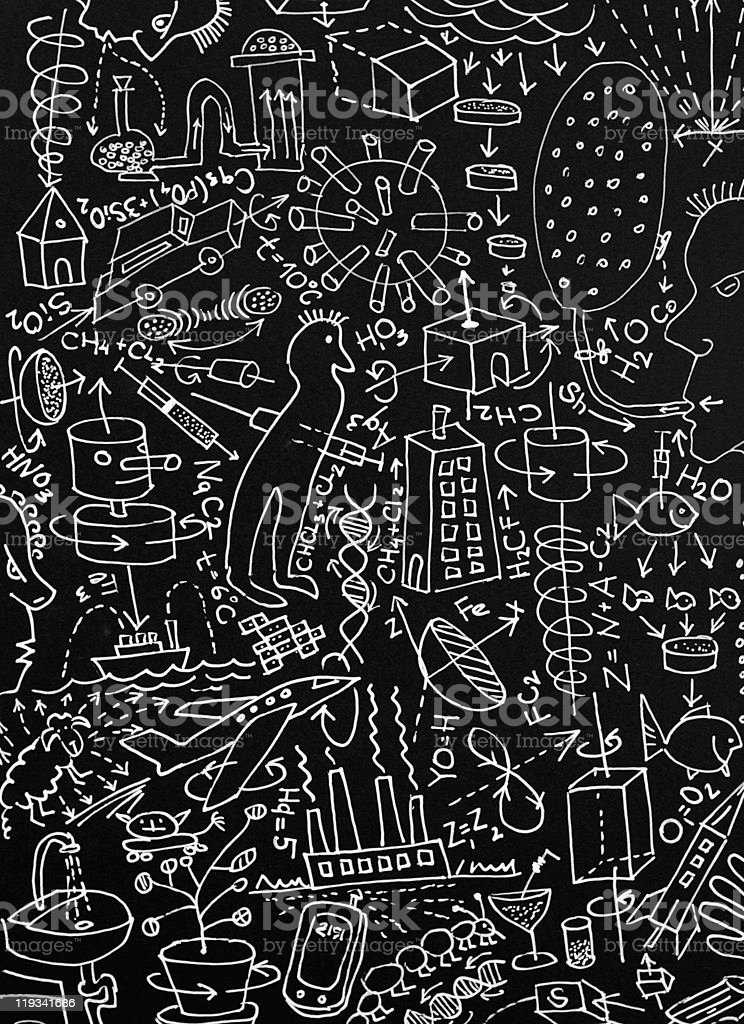Crazy science hand-drawing background royalty-free stock photo
