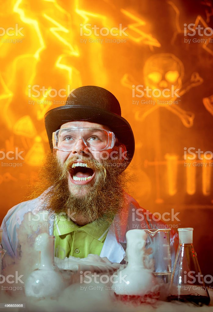 Crazy Scientist In Waiting Of Great Idea stock photo