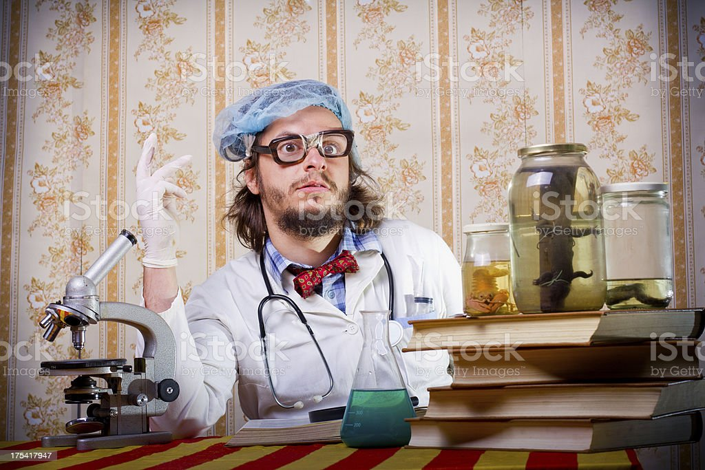 Crazy scientist stock photo