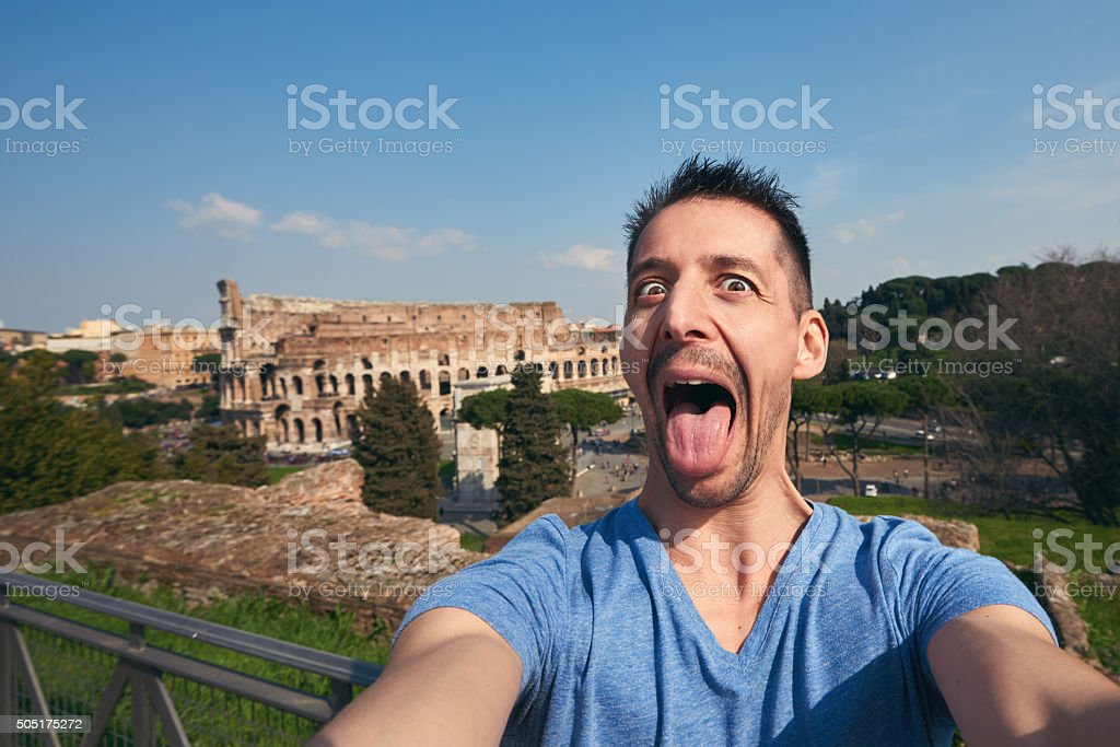 crazy selfie in Rome stock photo