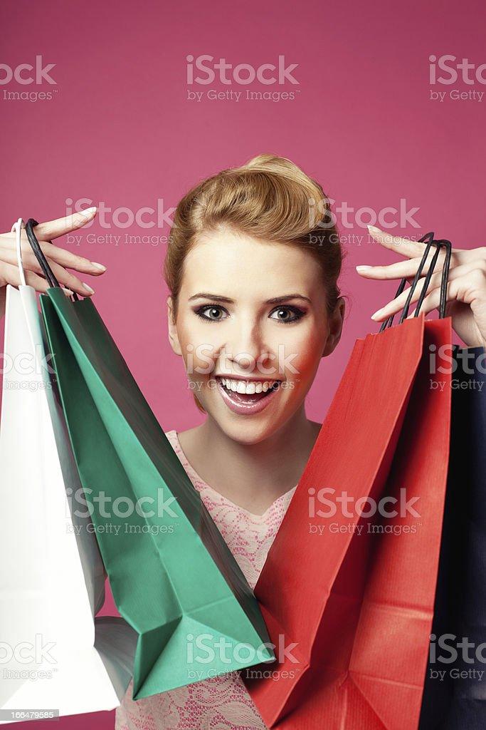 Crazy shopping stock photo
