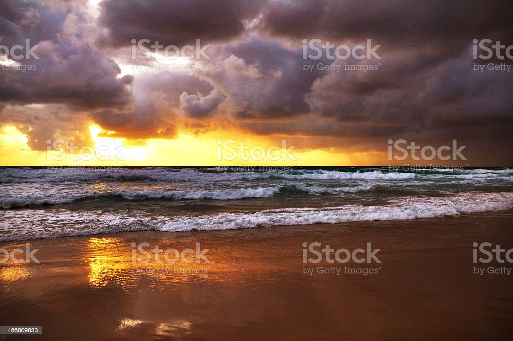 Crazy sunrise and stormy morning royalty-free stock photo