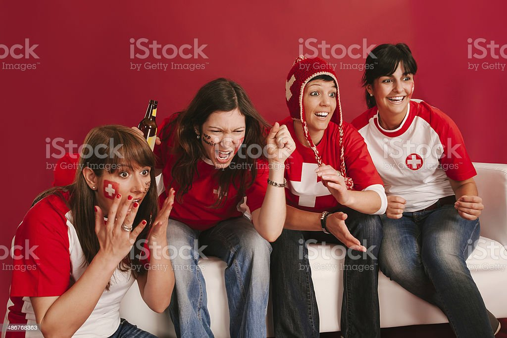 Crazy Swiss sports fans stock photo
