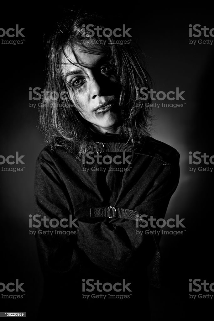Crazy Woman in Straitjacket royalty-free stock photo