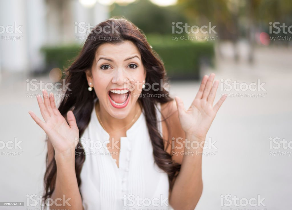 Crazy woman screaming stock photo