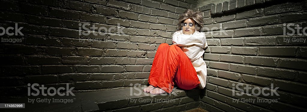 Crazy Woman wearing a straight jacket in an asylum stock photo