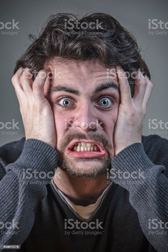 Crazy young man stock photo