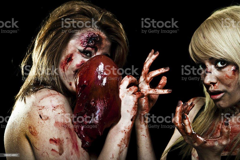 Crazy Zombie Girls stock photo
