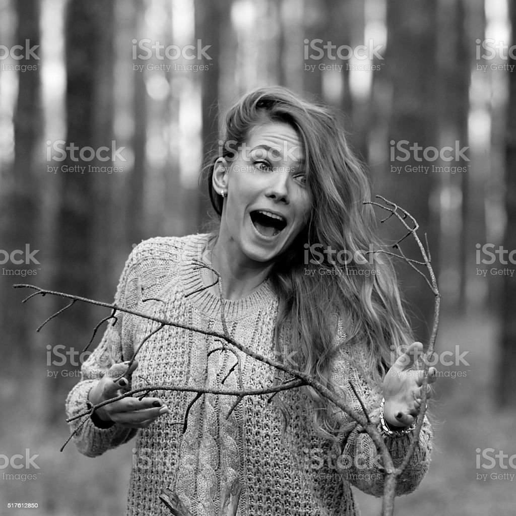 Crazy,mad funny cool girl shout,yell,cry at somebody stock photo