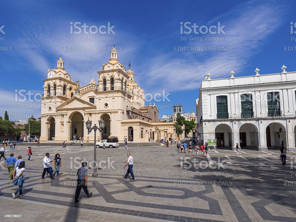 Córdoba Cathedral in Plaza San Martin, Cordoba, Argentina stock photo