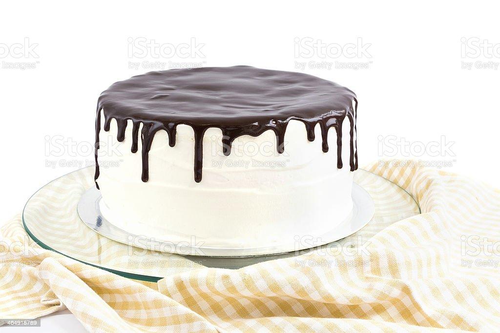 Cream and chocolate cake stock photo