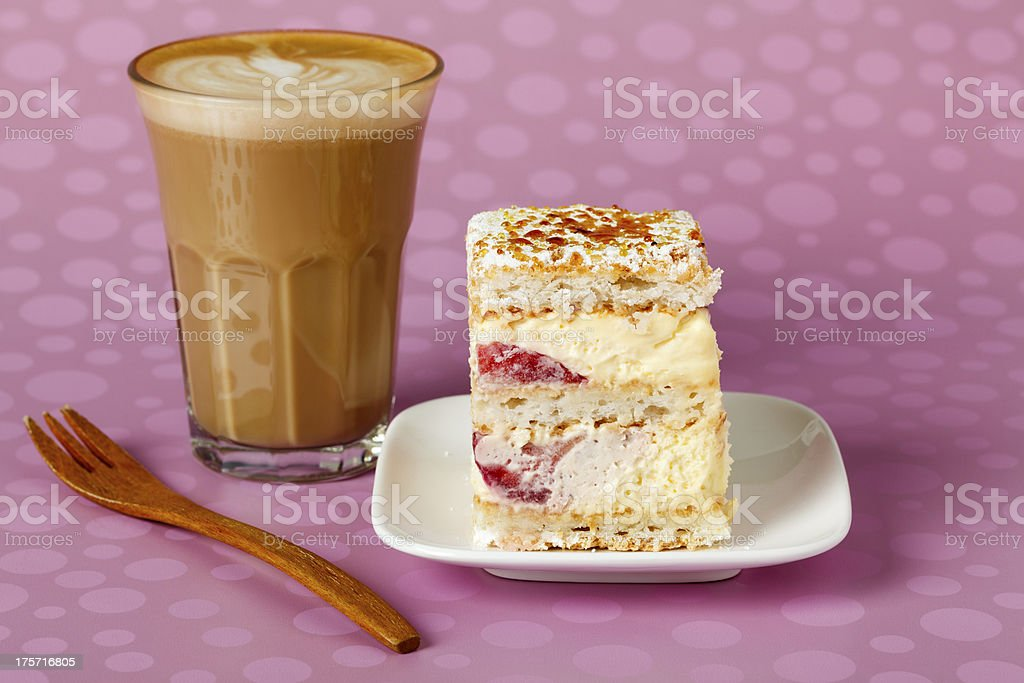 Cream and Strawberry Cake with Cafe Latte royalty-free stock photo