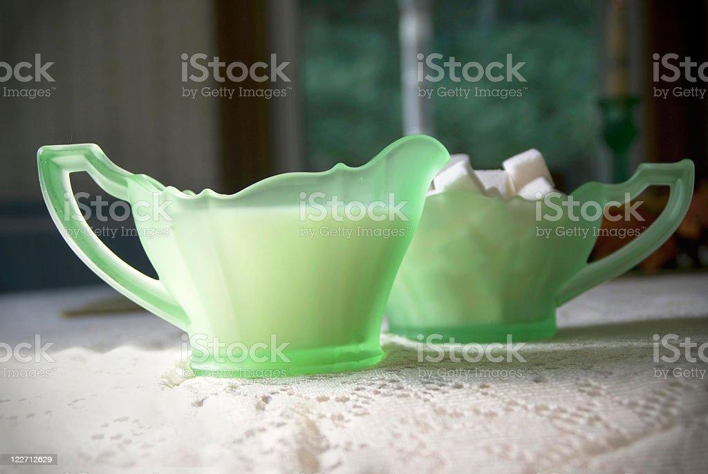 Cream and Sugar in Depression Glass stock photo
