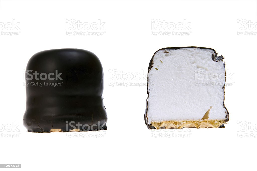 cream cake covered with chocolate royalty-free stock photo