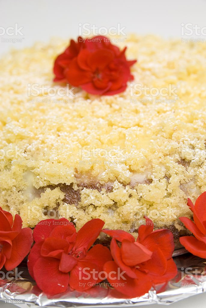 cream cake with a rose in the centre royalty-free stock photo