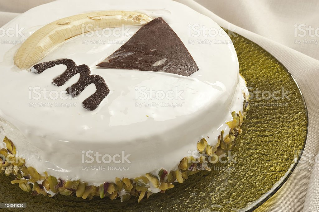 Cream cake with banana stock photo