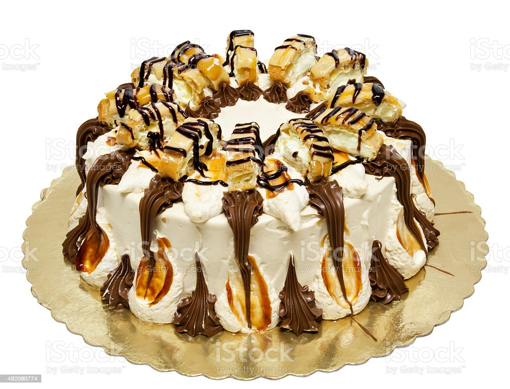 Cream cake with caramel stock photo