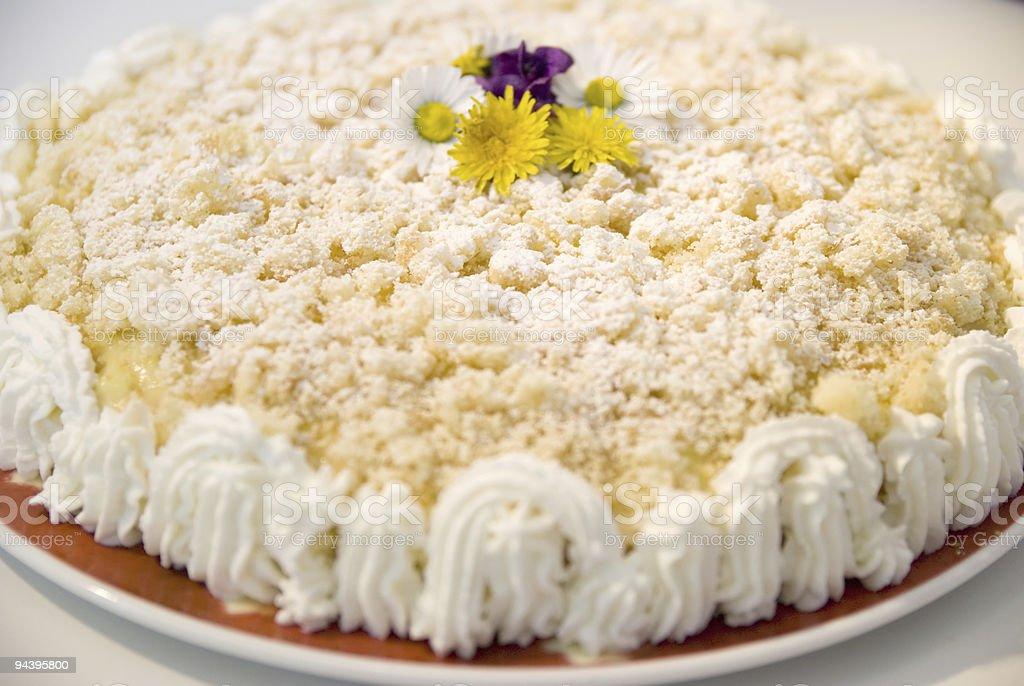 Cream cake with flower stock photo