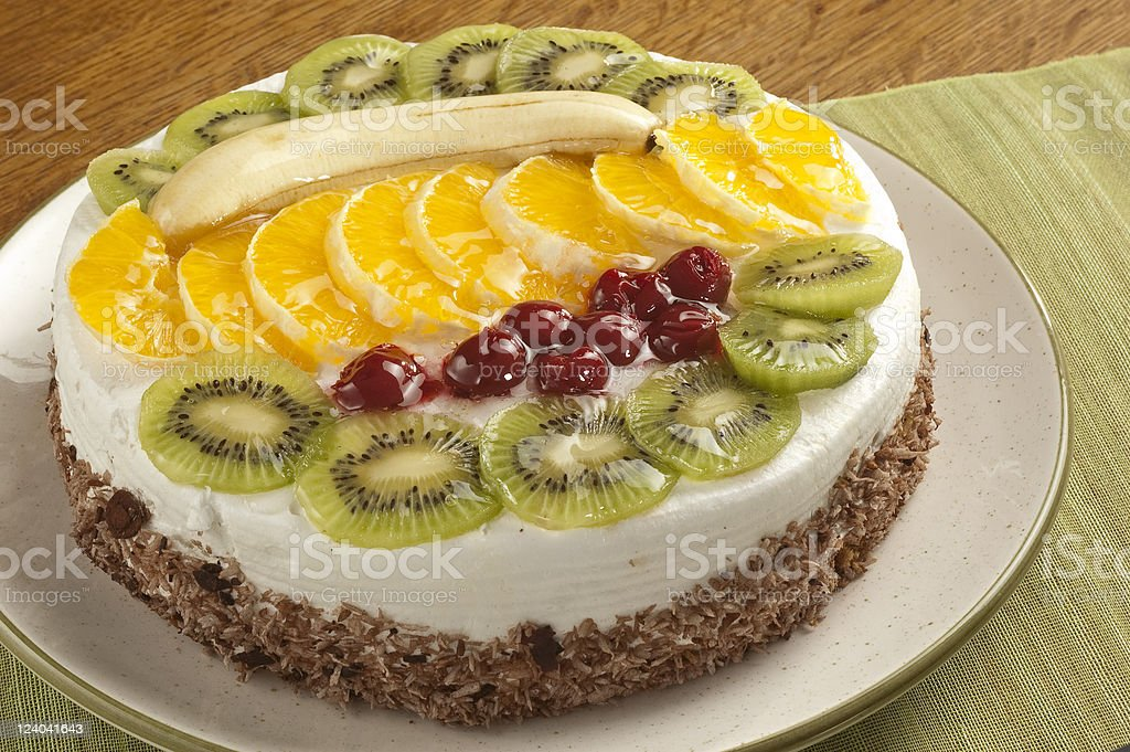 Cream cake with fruit stock photo
