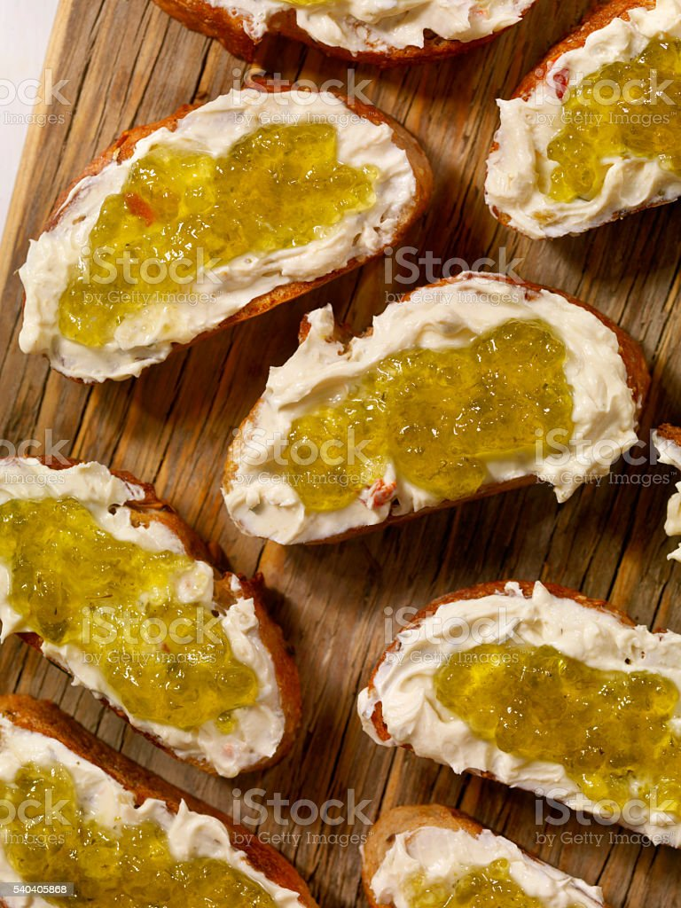 Cream Cheese and Jalapeno Jelly Crostini's stock photo